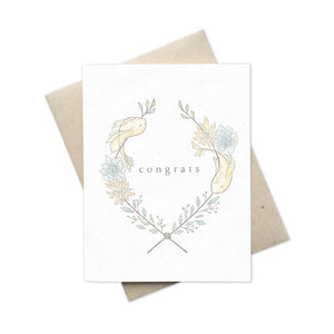 Minimalist Greeting card congrats with fish and plants