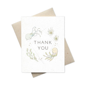 Whimsical greeting card thank You with aquatic creatures