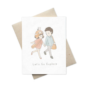 Greeting card Let's Go Explore boy and girl couple with friend, Hamstarcat