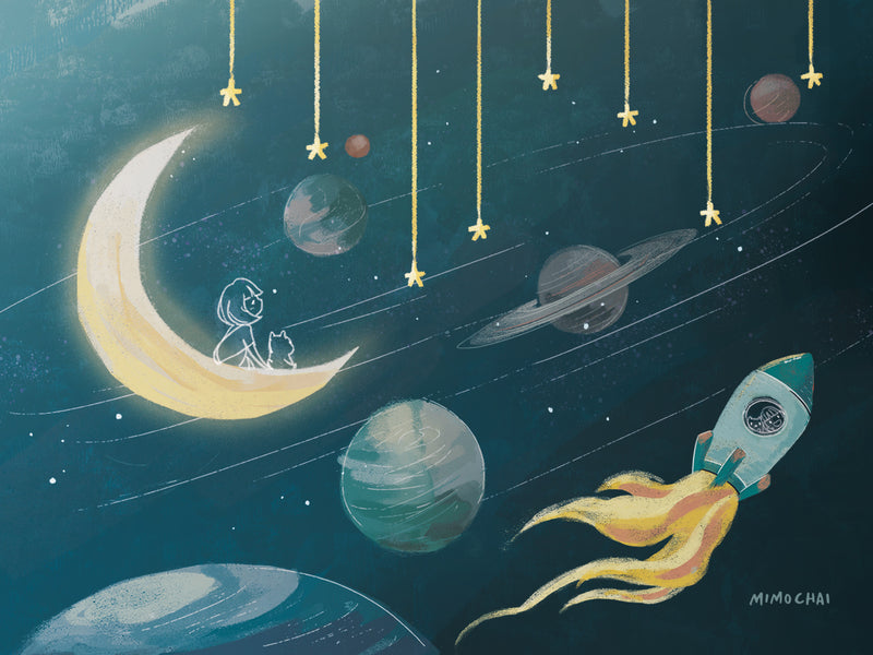 Free Emme & Hamstarcat Whimsical Space Desktop Wallpaper for Mac example