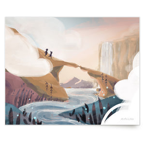 Inspirational nature illustration of girl and boy adventuring across bridge over river, from Let's Go Explore by Mimochai (Pass Through the Clouds print)