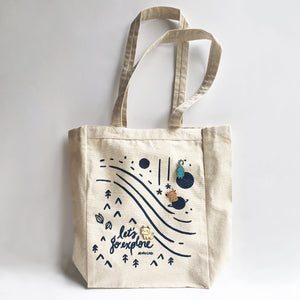 Let's Go Explore canvas tote front with movable sprite pins