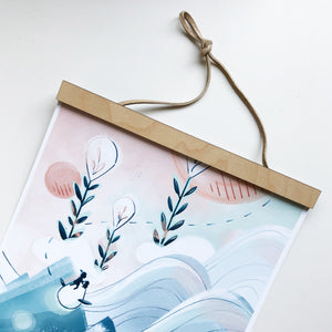 Handmade diy wood magnetic frame leather string detail