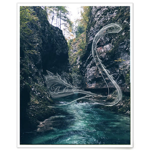 MBR (Make Believe Reality) Finding the Way photography print with sea serpent in lake