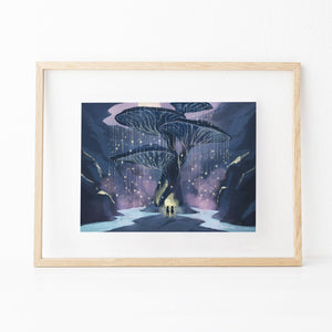 Framed inspirational nature art print illustration of big tree mushroom, from Let's Go Explore by Mimochai