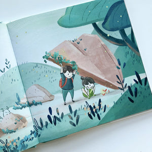 Inspirational nature illustration of boy and girl on an adventure, from Let's Go Explore by Mimochai