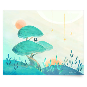 Inspirational nature illustration of big tree mushroom with boy and girl on swing (Up In a Tree), from Let's Go Explore by Mimochai