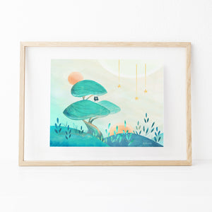 Framed Inspirational nature illustration of big tree mushroom with boy and girl on swing (Up In a Tree), from Let's Go Explore by Mimochai