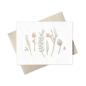 Minimalist greeting card for any occasion with flatlay flora plants