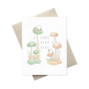 Whimsical I Miss You (Come Back Here) card with sprites in nature