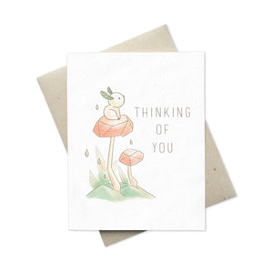 Whimsical greeting card Thinking of You Sprites in nature