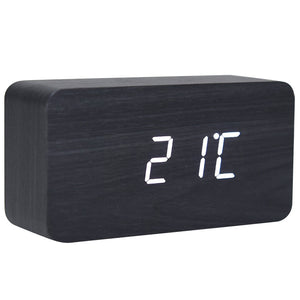 rectangle wood digital desk clock - JJs Newsagency Plus