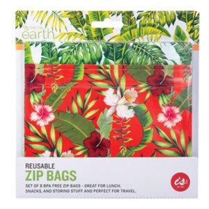 IS GIFT REUSABLE ZIP BAGS (SET OF 8) TROPICAL - JJs Newsagency plus