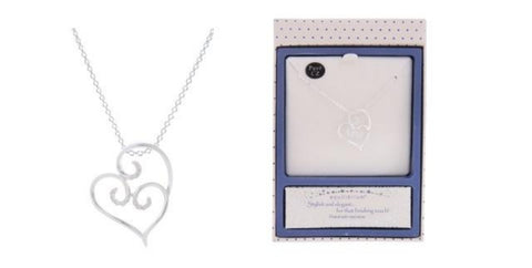EQLB LOOPED HEART NECKLACE SILVER - Gifts R Us