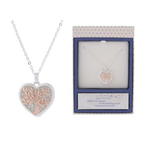 EQLB TREE.OF.LIFE. HEART NECKLACE SILVER - JJs Newsagency plus