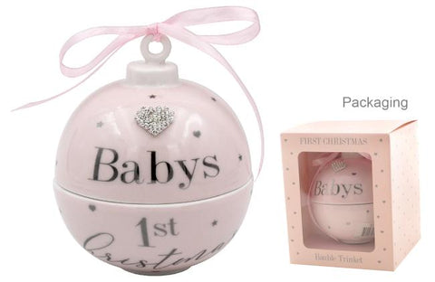 BABY'S 1ST XMAS T/BOX PINK - Gifts R Us