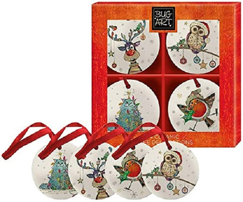 BUG ART XMAS DECORATIONS SET 4 - Gifts R Us