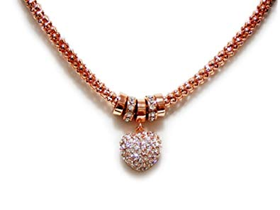 EQLB MESH HEART NECKLACE ROSE GOLD(2) - JJs Newsagency plus