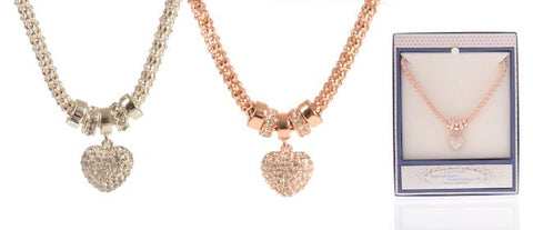 EQLB MESH HEART NECKLACE SILVER - Gifts R Us
