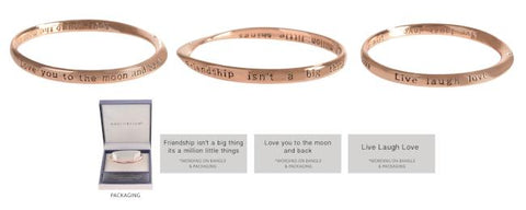 EQLB ROSE GOLD BANGLE LIVE, LAUGH, LOVE - Gifts R Us