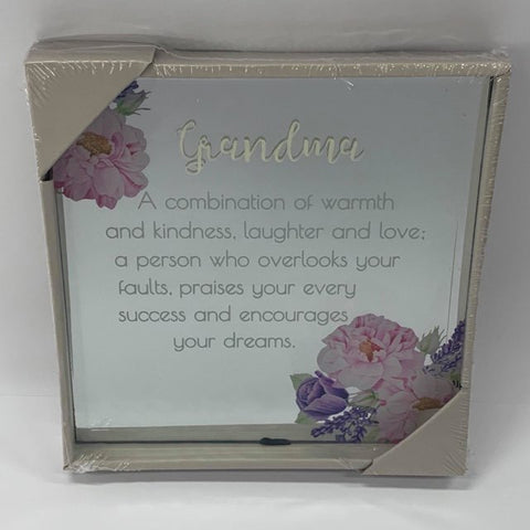 BEST WISHES MIRROR PLAQUE 15CM GRANDMA - Gifts R Us