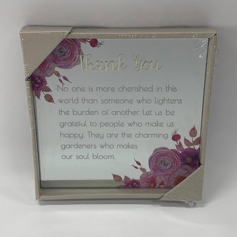 BEST WISHES MIRROR PLAQUE 15CM THANK YOU - Gifts R Us