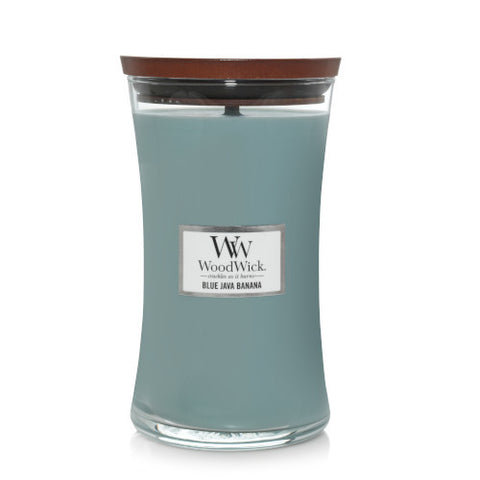 CANDLE WOODWICK LARGE HOURGLASS BLUE JAVA BANANA - JJs Newsagency plus
