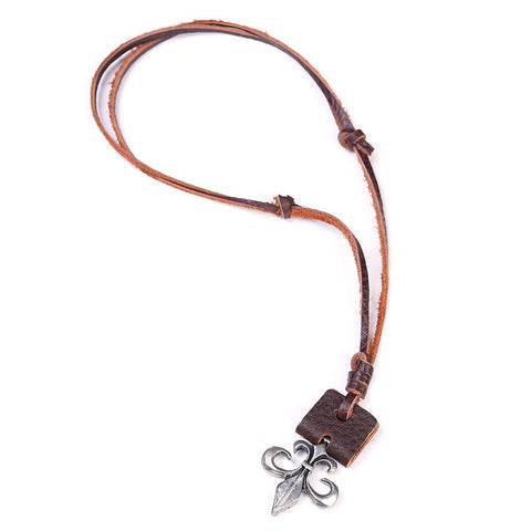 LEATHER NECKLACE FLEUR DE LIS - JJs Newsagency plus