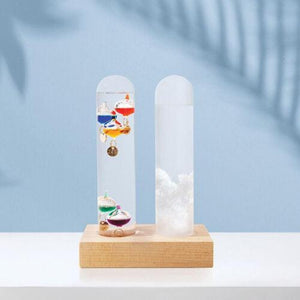 IS GIFT DUAL WEATHER STATION, STORM GLASS AND GALILEO THERMOMETER