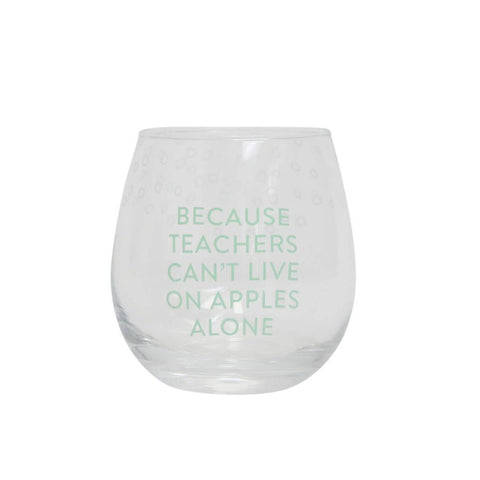 TEACHER APPLES STEMLESS WINE GLASS - Gifts R Us