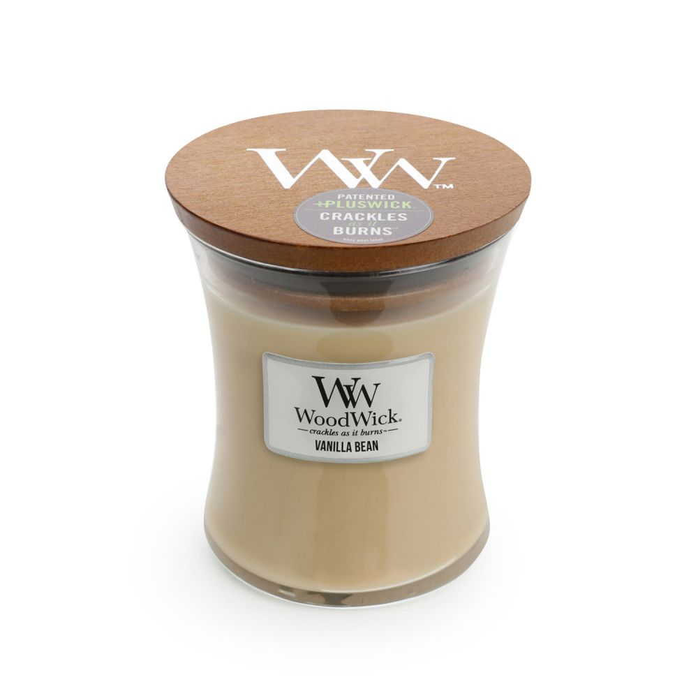 CANDLE WOODWICK MEDIUM HOURGLASS VANILLA BEAN - JJs Newsagency plus