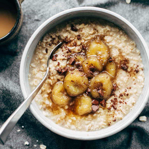 Irish Steel Cut Oats with Sauteed Maple Bananas & Toasted Pecans