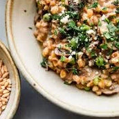 Farro Risotto with Golden Raisins & Spinach