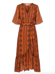 Bishop & Young Women's Dresses Large / Paprika Bishop & Young, Women's Delfina Wrap Dress (Orange Paprika)