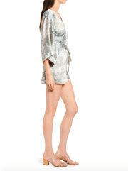 Bishop & Young Women's Rompers Bishop & Young, Women's Boheme Kimono Sleeve Romper (Cream and Blue)