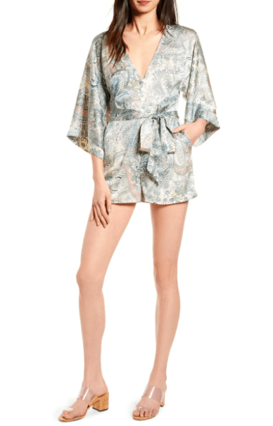 Bishop & Young Women's Rompers Large / Cerulean Blue Bishop & Young, Women's Boheme Kimono Sleeve Romper (Cream and Blue)