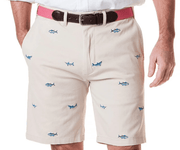 Castaway Men's Shorts 32 Castaway, Men's Fish Embroidered Twill Short (Stone)