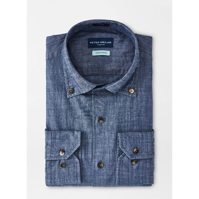 Peter Millar Men's Button-Down Shirts Peter Millar, Men's Denim Chambray Shirt (Blue)