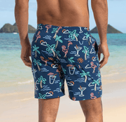 "Chubbies Men's Bathing Suit Chubbies, Men's 7"" Neon Lights Swim Volleys (Navy Blue)"