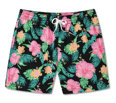 Chubbies Men's Bathing Suit Large Chubbies, Men's Lined Midnight Flowers Swim Volleys (Floral Black)