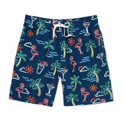 "Chubbies Men's Bathing Suit Medium Chubbies, Men's 7"" Neon Lights Swim Volleys (Navy Blue)"