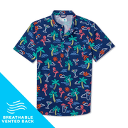 Chubbies Men's Short Sleeve Button-Down Shirt Large Chubbies, Men's One Man Wolf Pack Button-Down Popover (Navy Blue)