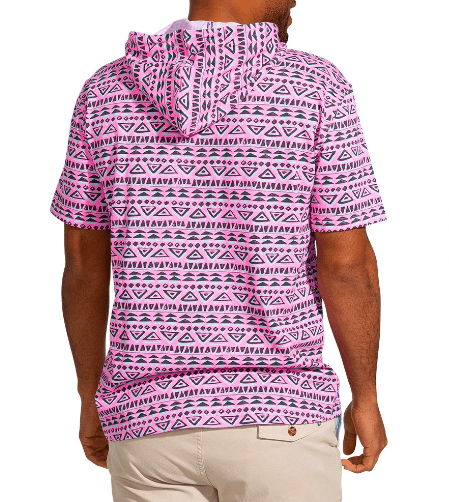 Chubbies Men's Tee Shirt Chubbies, Men's Equator Hoodie Tee (Magenta)