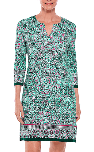 Coolibar Women's Dresses Large / Teal Bold Mosaic Coolibar, Oceanside Tunic Dress (Multiple Colors)