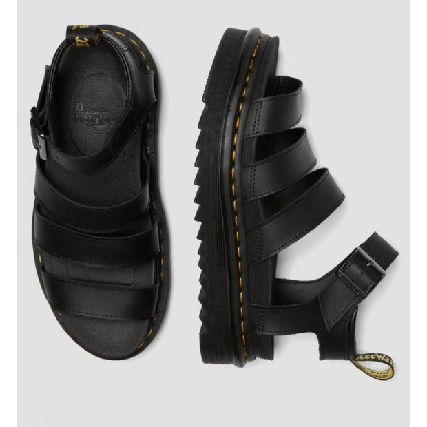 Dr. Martens, Women's Blaire Hydro Leather Gladiator Sandals (Black)