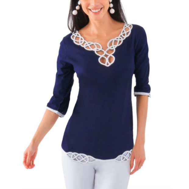 Gretchen Scott Women's Tops XS Gretchen Scott, Women's Infinity Cut Out Top (Navy)