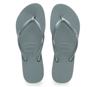Havaianas Women's Sandals 35/36 / Silver Blue Havaianas, Women's Slim Metallic Flip Flops (Multiple Colors)