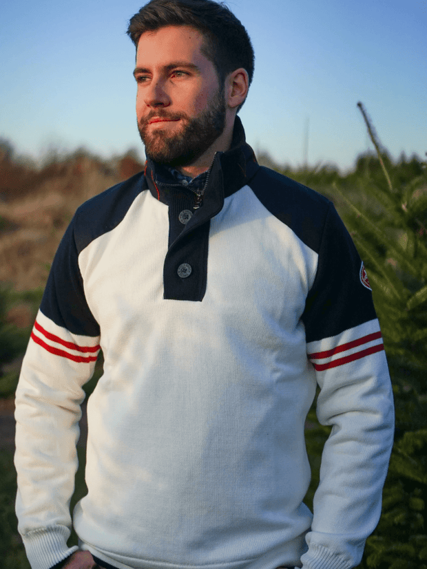 Holebrook Men's Sweaters Large / Red White & Blue Holebrook, Men's Freddy Windproof 1/4-Zip (Cream)