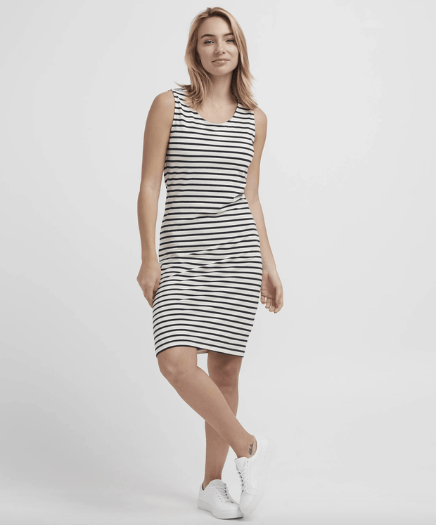 Holebrook Women's Dresses Large / Off White & Navy Holebrook, Women's Fiona Tank Dress (White & Navy)
