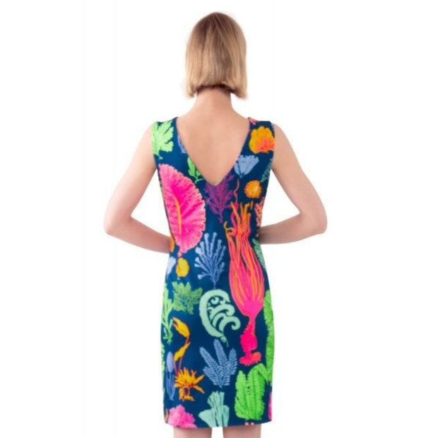 sublime jersey dress gretchen scott navy blue multi coral ocean pattern halter keyhole mini dress global pursuit